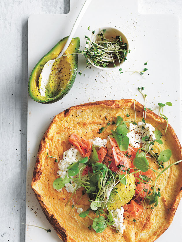 BREAKFAST SMOKED TROUT + AVOCADO OMELETTE