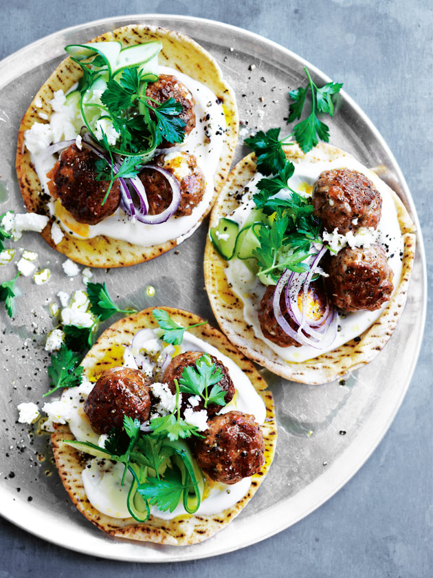 EASY DINNER LAMB AND FETA MEATBALL FLATBREADS