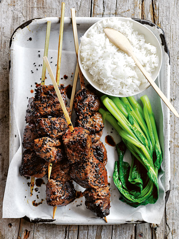 SPICY BARBECUE SRIRACHA HONEY BEEF SKEWERS