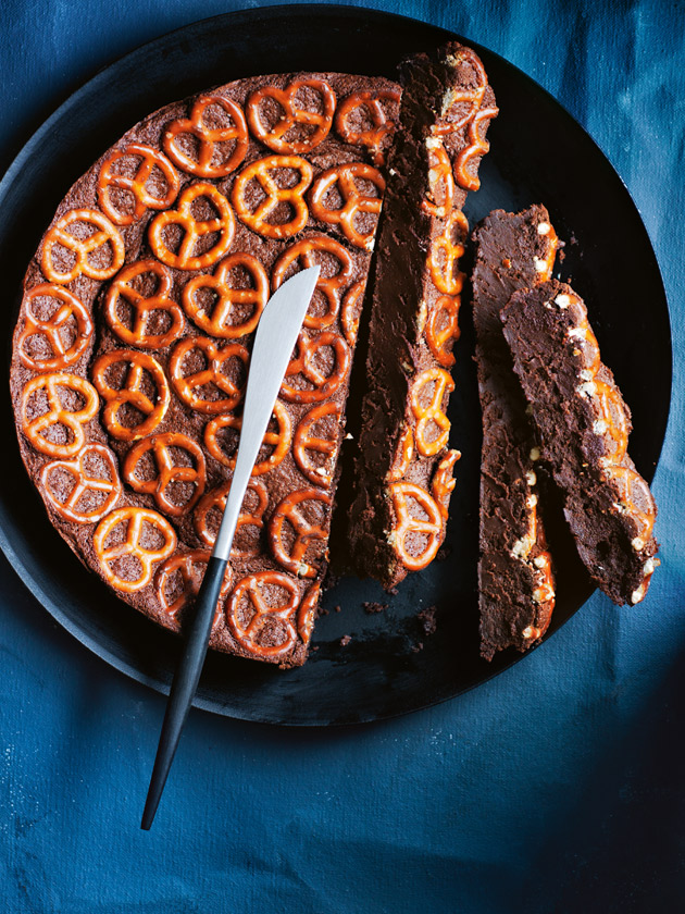 SALTY + SWEET DARK CHOCOLATE PRETZEL CAKE