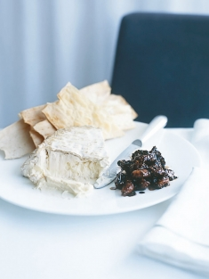cheese plate with wild fig compote