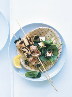 chicken, haloumi and preserved lemon skewers