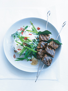 chilli and kaffir lime beef skewers