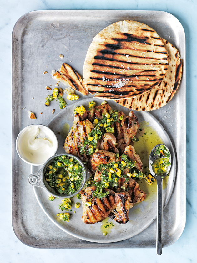 Char Grilled Chicken With Green Chilli And Corn Salsa | Donna Hay