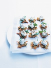 carrot and parsnip fritters with marinated feta