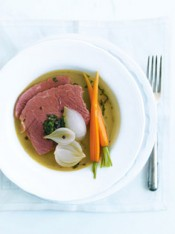 corned beef in broth with salsa verde