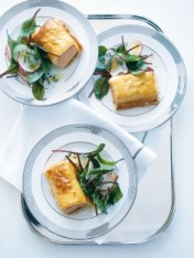 baked salmon with radish and cucumber salad