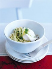 angel hair pasta with pesto and goat's curd