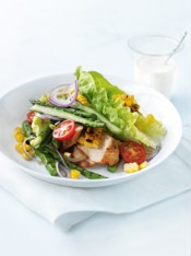 char-grilled corn and spiced chicken salad
