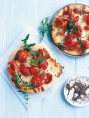 cherry tomato and bocconcini pizzas