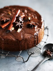chocolate cake with spiced syrup
