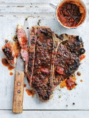 green peppercorn t-bone steaks with smoky barbecue relish