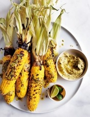 grilled corn with miso lime butter
