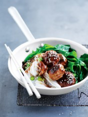 hoisin-glazed pork meatballs with rice noodles