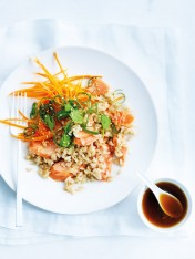 salmon and brown rice salad