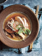 japanese chicken and mushroom soba noodle soup