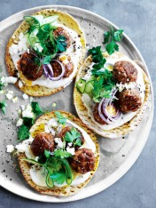 lamb and feta meatball flatbreads