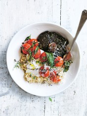 savoury oats with roast thyme mushrooms