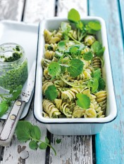 watercress and walnut pesto pasta salad