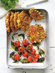zucchini and haloumi fritters with roasted tomatoes