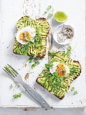 smashed avocado toast with soft-boiled egg
