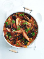 chorizo and prawn paella