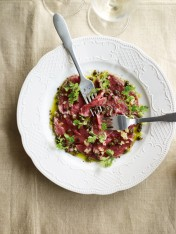 beef carpaccio with preserved lemon dressing