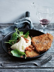 beef and horseradish schnitzel with deconstructed colcannon