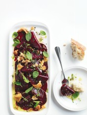 beetroot carpaccio with crispy feta and mint