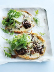 blue cheese, caramelised onion and pear pizzas