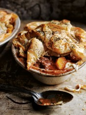 braised lamb, butternut and stracchino filo pies