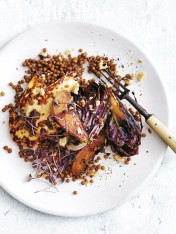 charred radicchio, pear, haloumi and hazelnut salad