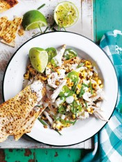 chicken and corn nachos with jalapeño yoghurt