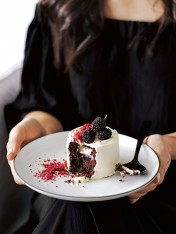 chocolate and mulberry trifle cakes