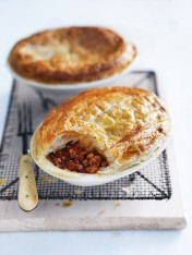 pork and chorizo bolognese pies