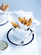 crispy seafood with herb dipping sauce
