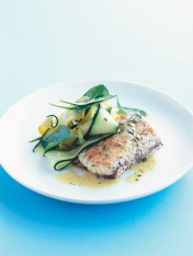 crispy skin barramundi with zucchini salad