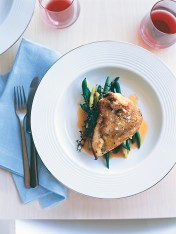 crispy skin tarragon chicken with beans