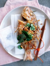 crispy whole fish with tamarind dressing