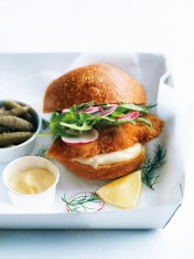crispy fish burgers with radish and cornichons