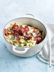 crispy salami, crushed pea and ricotta pasta