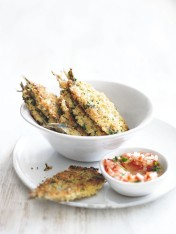 crumbed sardines with tomato dressing