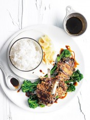 crumbed miso lamb cutlets with sticky soy sauce