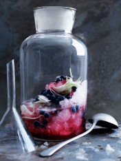 fennel-infused vodka punch with blueberries