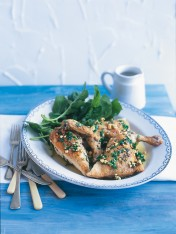 flat-roasted chicken with almond and mint