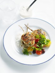 haloumi-crumbed lamb cutlets with tzatziki