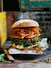 harissa lamb, crispy carrot and haloumi burger