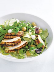 mediterranean chicken and goat's cheese salad