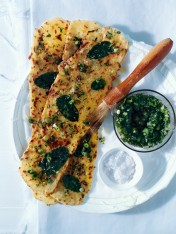 mint flatbread with green onion pesto