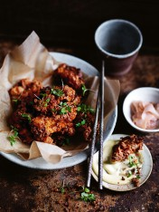 crispy miso and ginger fried chicken with miso mayonnaise